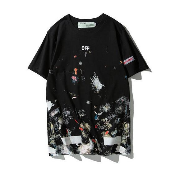 New 19SS Off-White OW Fireworks Splashing Ink Men Women Couple Lovers Models Fashion Cotton Round Neck Short Sleeve T-shirt