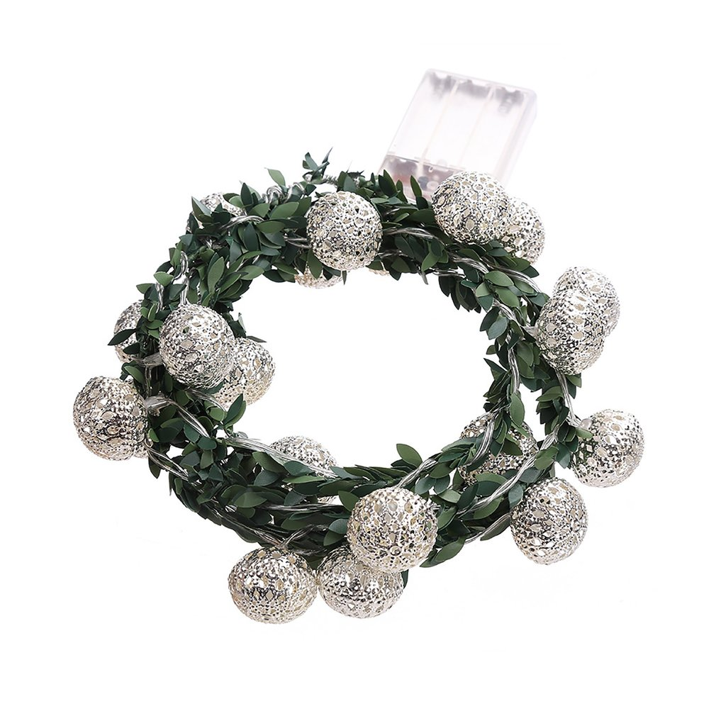 20 LED Rattan Moroccan Ball Light String Battery Box Power Christmas Day Indoor Outdoor Decoration Gold/silver BZ496