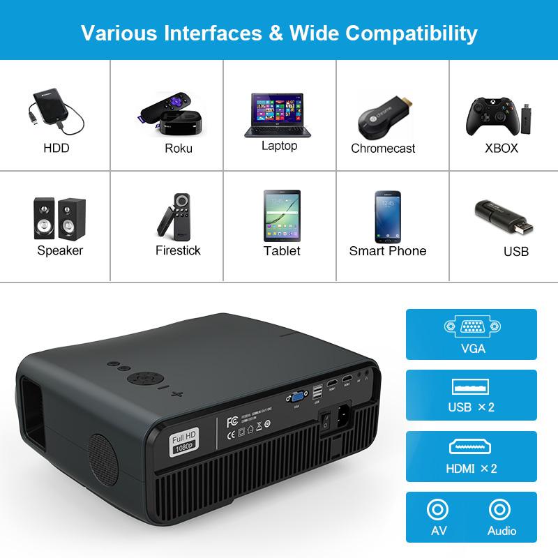 Caiwei completo hd projetor a12 1920x1080p android 6.0 (2g + 16g) wifi led mini projetor de cinema em casa hdmi 3d vídeo beamer para 4k-5