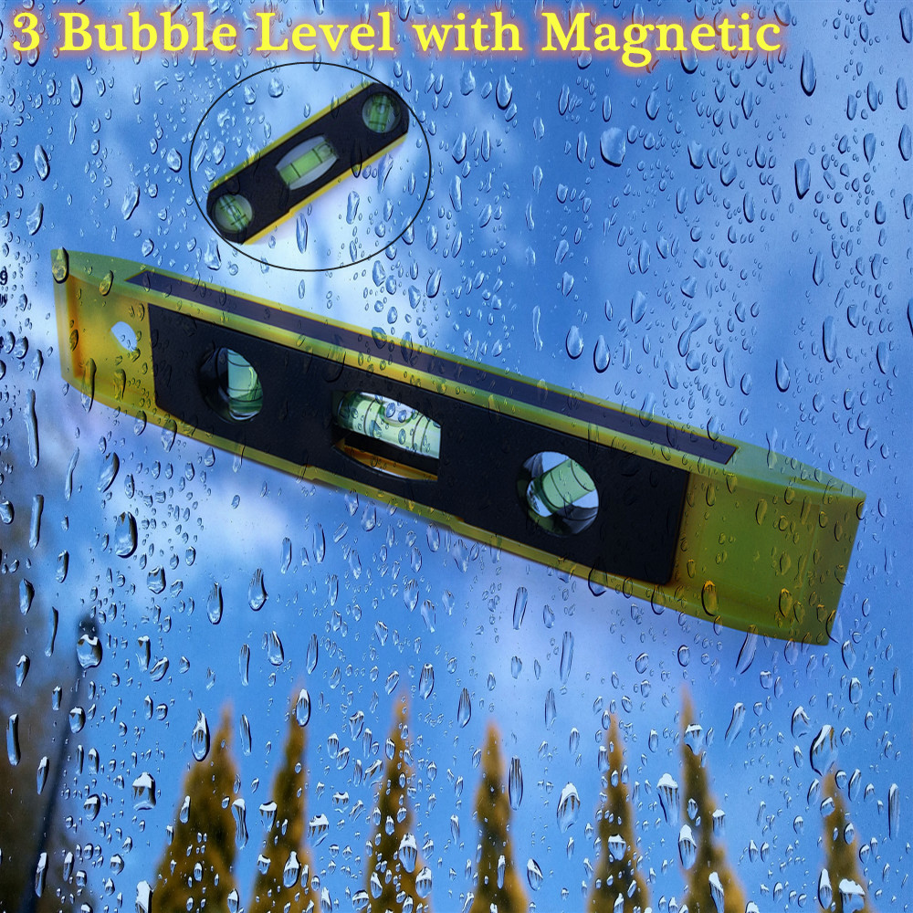 Image 5 - Hot 9'' Spirit Level Bubble Ruler Magnetic ABS Shell Vertical Horizontal 45 Degree Bubble Level Measuring Instrument Tool-in Level Measuring Instruments from Tools