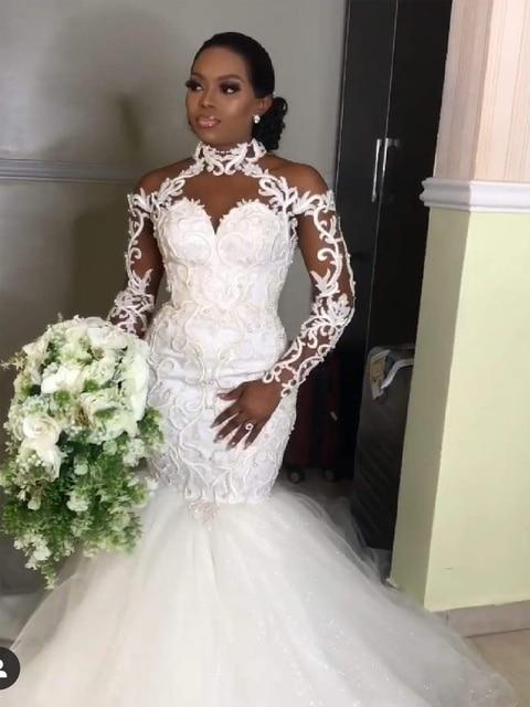 2021 Latest African Mermaid Wedding Dresses Elegant Halter Long Sleeves Lace Appliques Beads Bridal Gowns vestido de noiva 1