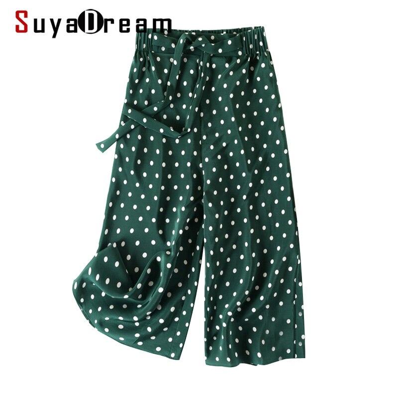 SUYADREAM Women Calf-Length Pants 100%Real Silk Dots Printed Pants 2020 Office Lady Spring Summer New