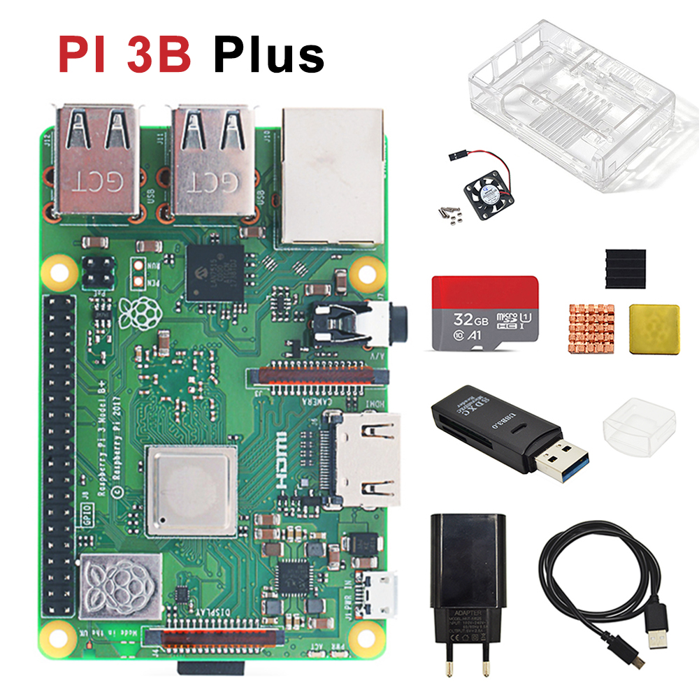 Original Raspberry Pi 3B Plus Model  Kit With Transparent Case+ Heat Sink EU Power + USB Card Reader