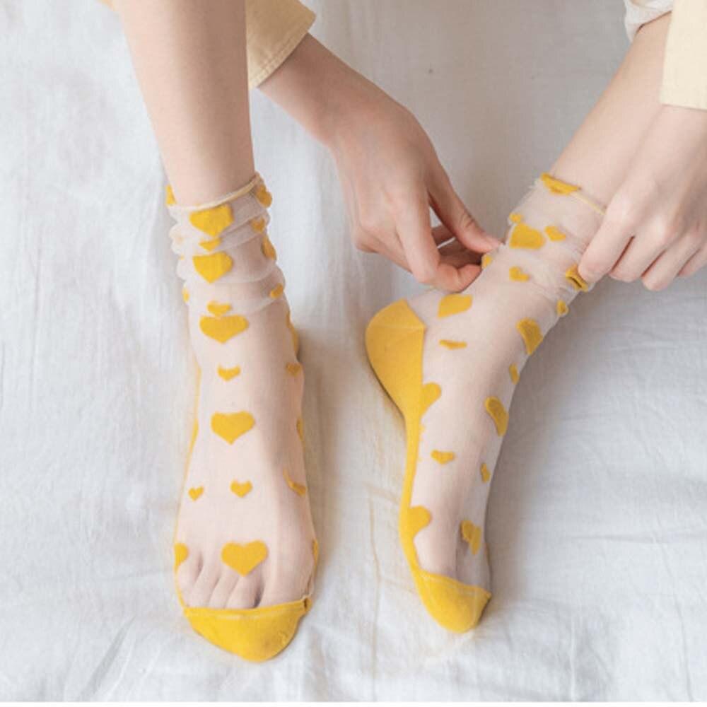 Summer Transparent Glass Silk Socks Small Fresh Female Heart Pattern Ultrathin Transparent Love Short Socks