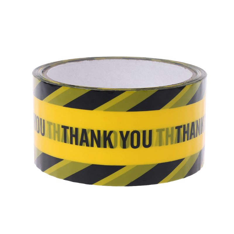 1 Roll 25m Yellow Warning Tapes Black Twill Caution Mark Work Safety Adhesive Tapes DIY Sticker J6PB