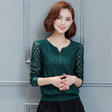 Autumn Lace Blouse Women Fashion Hollow Out Lace Top