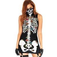 New Women's Halloween Sexy Short Mask Bones Print Dress Women Punk Party Dresses Summer Women Dress Halloween G0820