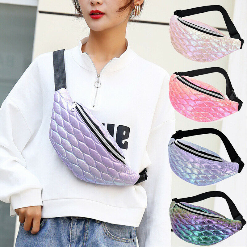 Fashion Trend Women Girls  Fanny Pack Shiny Leather Pouch Chest Bag Adjustable Belt Waist Bum Bag Phone Travel Sports Purse