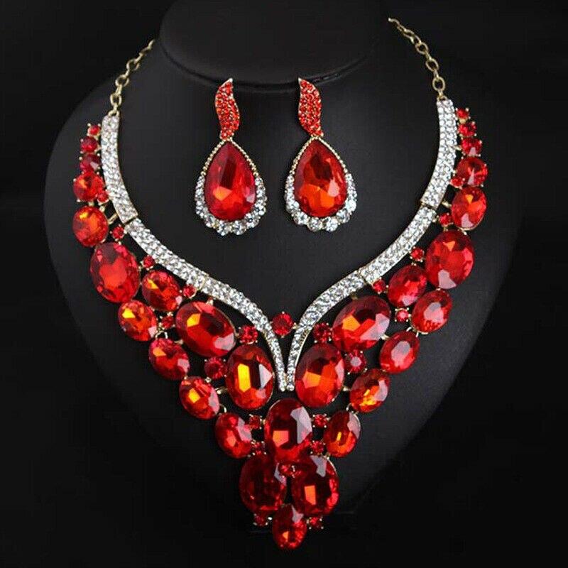 Image 2 - Luxury Crystal Jewelry Set Statement Necklace Earring Bridal Wedding Jewellery Fashion Women Rhinestone Statement Choker IndianJewelry Sets   -