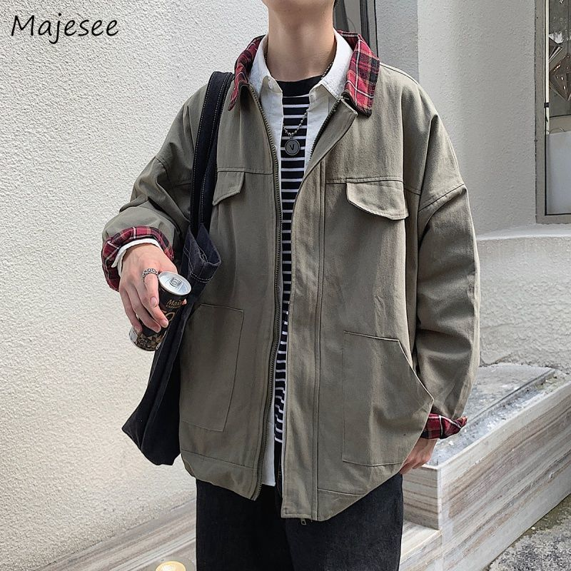 Jacket Men Stylish Korean Style All Match Big Size Oversize Mens Jackets And Coats Streetwear Solid Color Black Coat Ulzzang