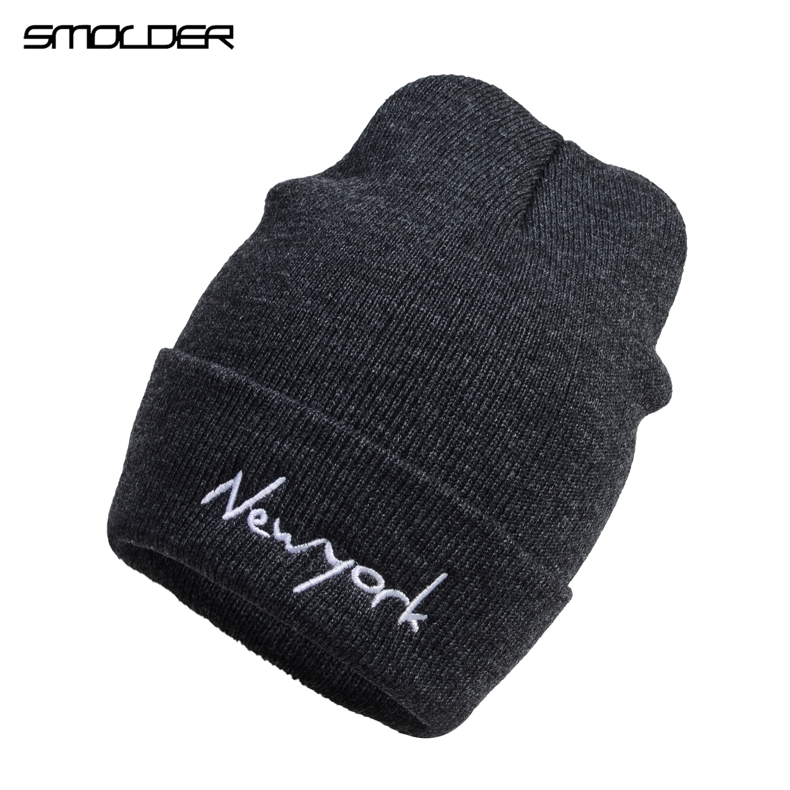 [SMOLDER]Hotsale Letter New York Men Women Knitted Beanies Winter Hat Candy  Casual Solid Skullies Hat Unisex Cap Gorro