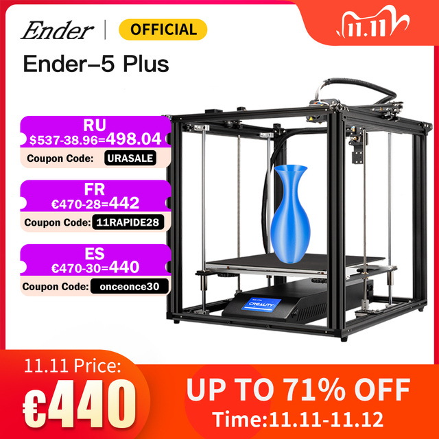 Ender 5 Plus 3D Printer High Precision Large Size 350*350*400 Printer 3D Auto Leveling,Dual Z axis Power Off Resume Creality 3D