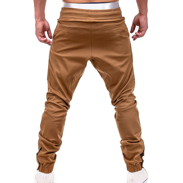 Men Casual Joggers Pants Solid Thin Cargo Sweatpants  3