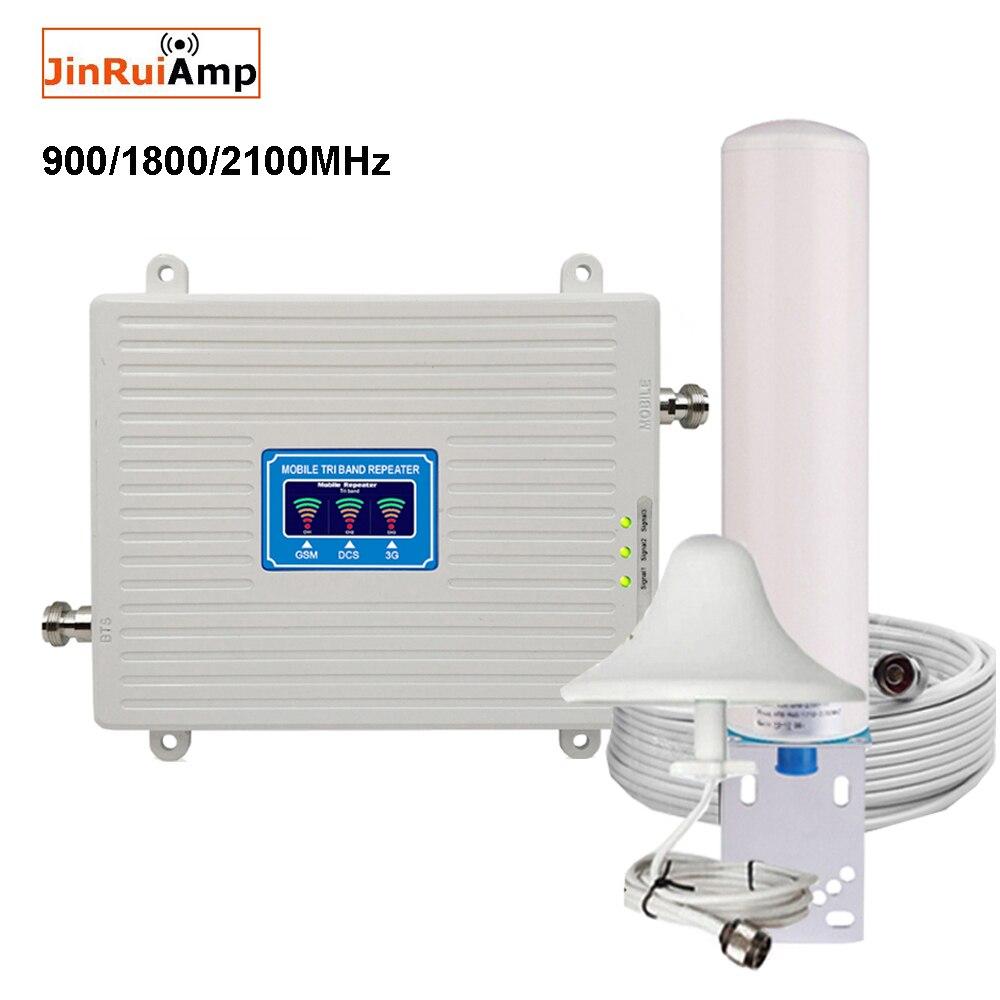 Amplificateur Mobile répéteur à trois bandes 900 1800 2100 GSM répéteur DCS WCDMA 2G 3G 4G répéteur LTE amplificateur de Signal cellulaire