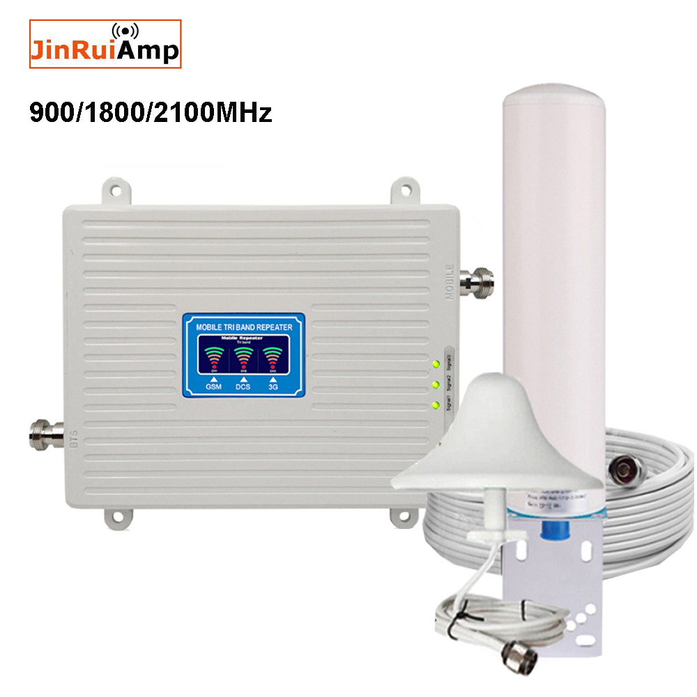 Mobile Amplifier tri band <font><b>repeater</b></font> 900 1800 2100 GSM <font><b>repeater</b></font> DCS WCDMA <font><b>2G</b></font> 3G 4G <font><b>repeater</b></font> LTE cellular Signal Booster image