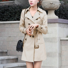 Women Trench Coat Slim Windbreaker Double Breasted Long Trench Coat Overcoat Outwear Solid Color Oversize Coats With Belt 2020