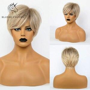 Синтетический парик блонд Единорог, 6 дюймов, короткий прямой парик, обрезанный волосы, парик с челкой, термостойкий поддельный парик для че...