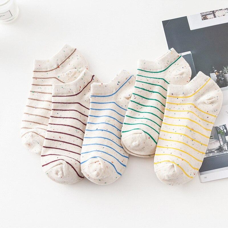 10 шт. = 5 пар/лот модные хлопковые цветные полосатые короткие женские носки до щиколотки милые низкие женские носки в стиле Харадзюку для сту...