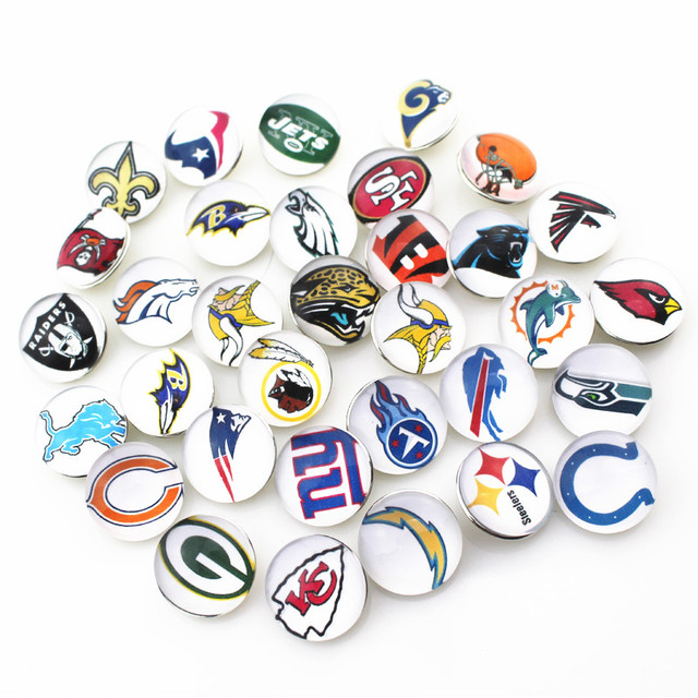 20pcs/lot football sports team Glass Snap Buttons Charms Fit 18mm/20mm DIY Snap Bracelet Necklace Jewelry