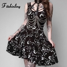 Fitshinling 2019 Goth Dark Moon Print Party Dresses Harajuku Vintage Empire Elegant Black Dress Gothic Hot Sleeveless Vestidos