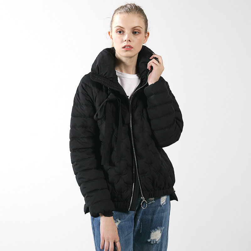 Short Fund Goose   Down     Down   Jackets Ma'am Leisure Time Loose   Coat   Black Suit-dress