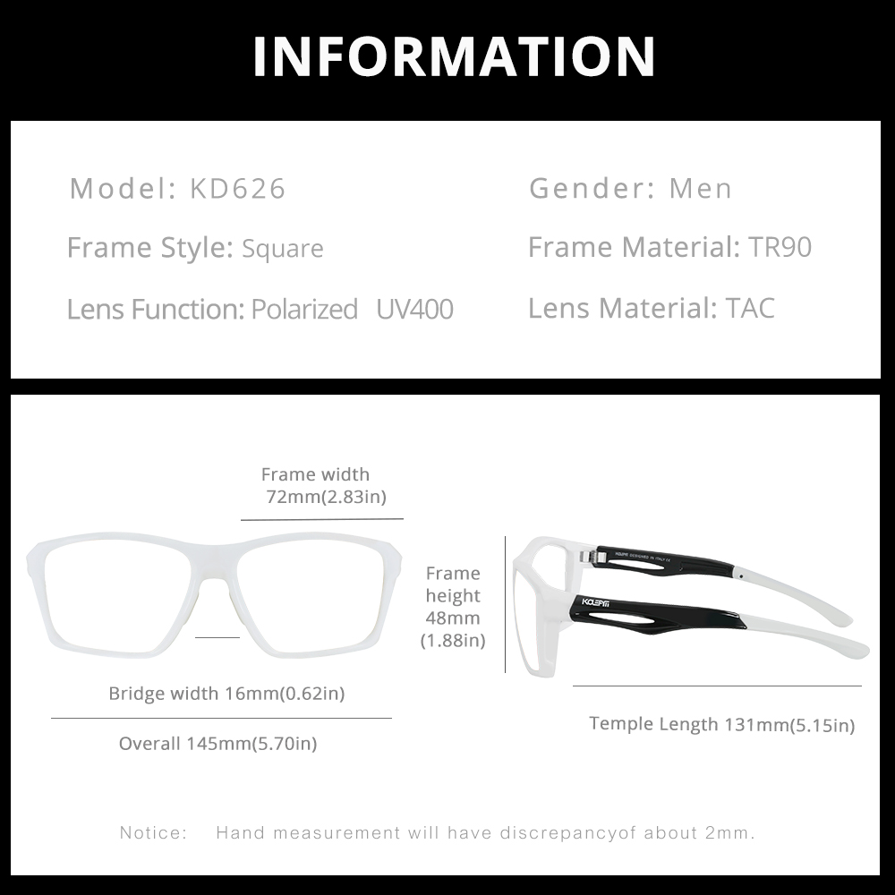 Flexible TR90 Frame Mirrored Sunglasses Polarized Men outdoor Eyewear Rubber nose pads 100%UV With Original Case KD626-C6