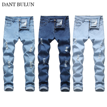 DANT BULUN Men's Stretchy Skinny Ripped Distressed Jeans Straight Denim Pencil Pants Slim Fit Casual Trousers Blue Dropshipping skinny jeans for men distressed stretch jeans ice blue ripped skinny jeans slim fit dropshipping supply white tape design