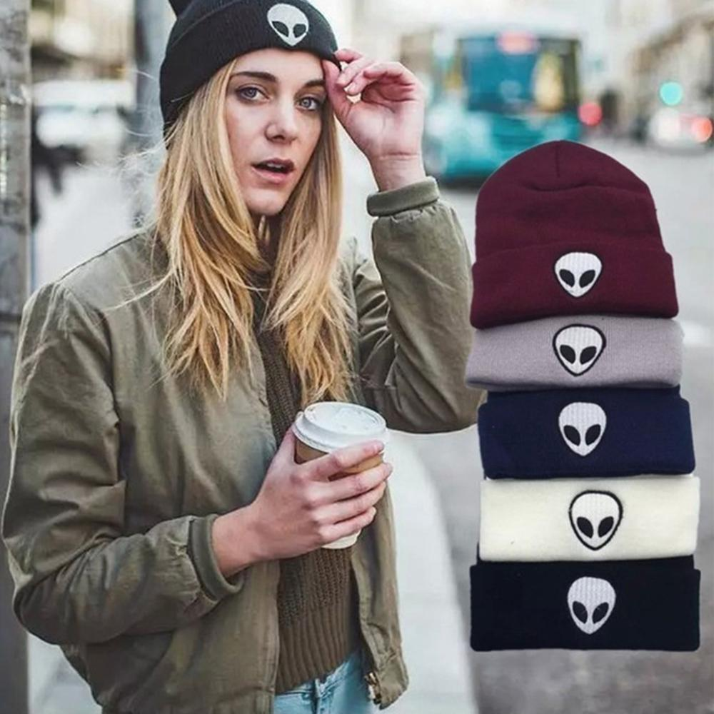 Hot Sale New Autumn Winter Hat Women Solid Color Alien Pattern Knitted Hat Wool Soft Cap Men Women Hats Christmas Gifts