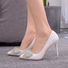 women shoes color rhinestone bow white high heel Wedding Shoes bride Party Shoes Women Pumps Ladies Bridal Shoes 9cm z203 silver crystal wedding shoes bride super high heeled platforms bling shinny rhinestones bridal shoes ladies party pumps hs156