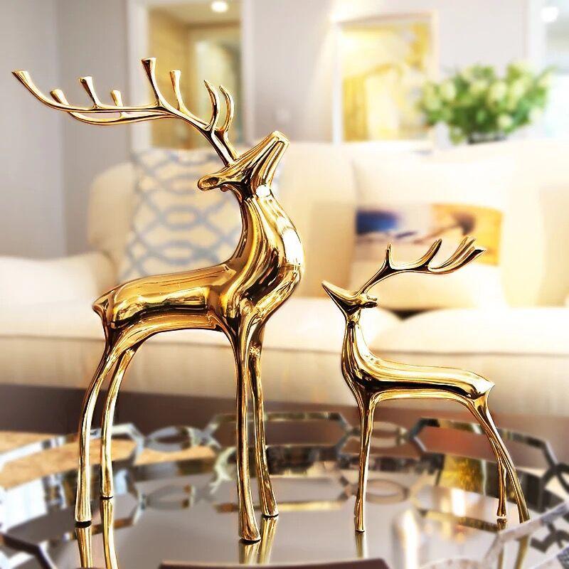 Elk de cuivre or métal orignal Sculpture de luxe maison décorative animaux Figurines noël nouvel an bureau décoration Feng Shui ornement