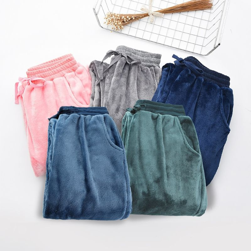 Women Men Autumn Winter Pyjama Pants Loungewear Pajamas Thicken Loose Coral Fleece Pants Sleep Pijama Lounge Pants