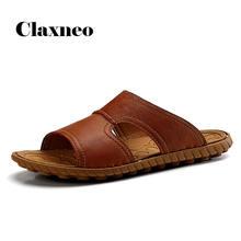 Мужские кожаные шлепанцы летняя мужская обувь дышащие повседневные