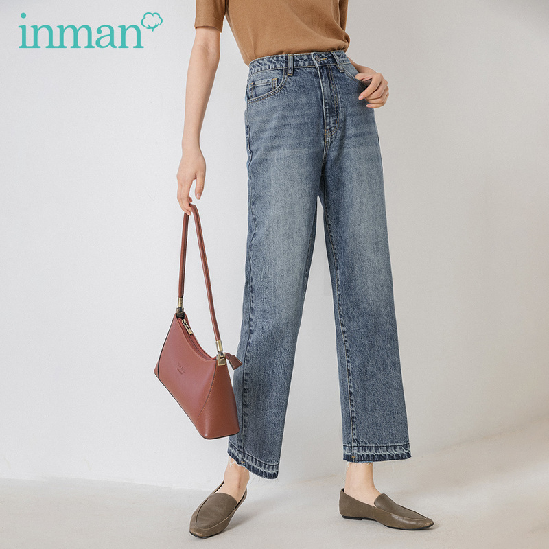 INMAN 2020 Spring New Arrival Office Artsy High Waist Whisker Unique Women Loose Shaped Style Pants Jeans