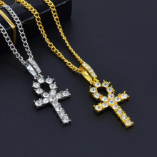 Hot Crystal Cross Pendant Gold Silver Copper Material CZ Egyptian Key of Life Necklace Men Women Hip Hop Jewelry