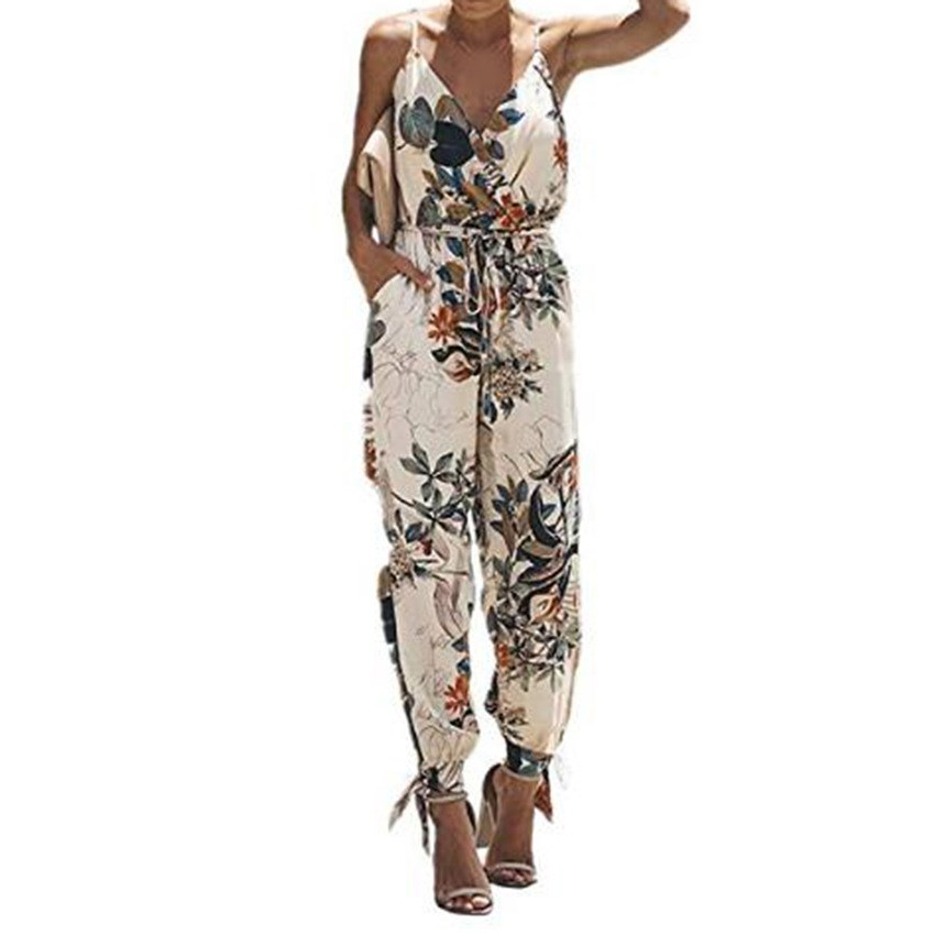 Fashion Nice Summer Women Split Overalls Sexy V-Neck Backless Beach Jumpsuit Holiday Print Long Romper