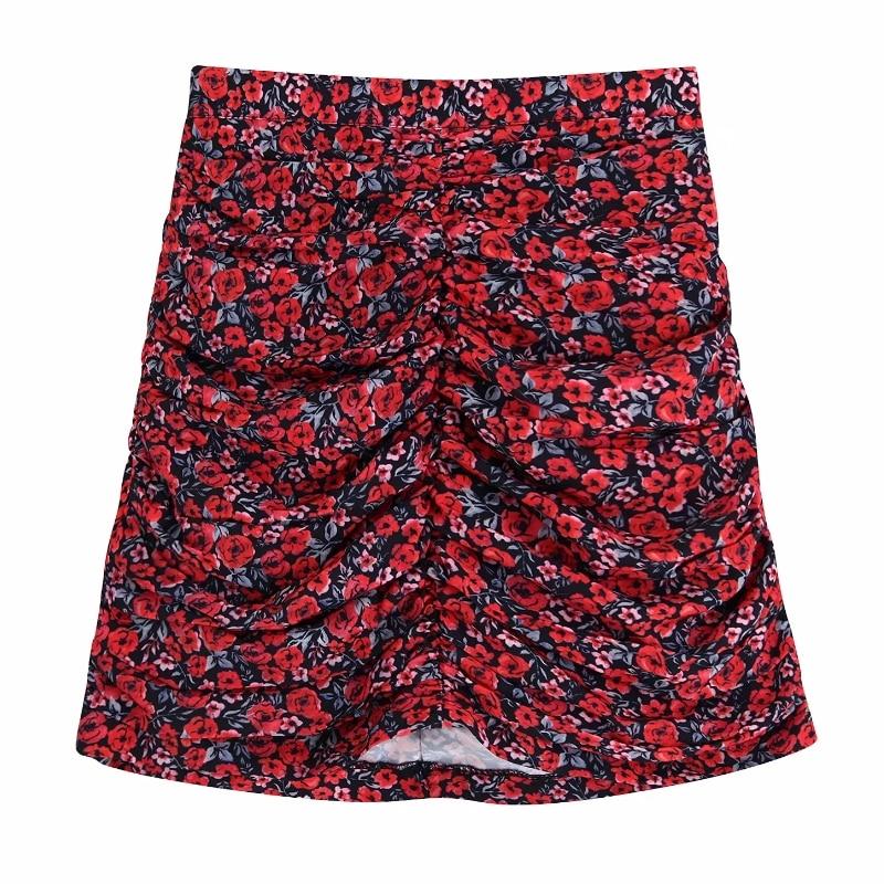 2019 Women High Street Red Floral Print Pleated Casual Slim Mini Skirt Faldas Mujer Ladies Side Zipper Chic Brand Skirts QUN500