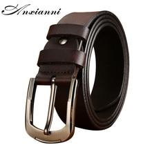 New Men's Belt male leather pin buckle Metal Buckle Design Leather Belt