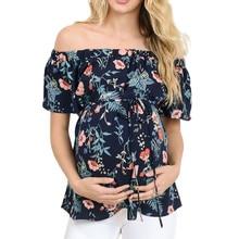 Short-Sleeve T-Shirt Pregnant-Tees Maternity Breastfeeding Floral Off-Shoulder Off-Shoulder