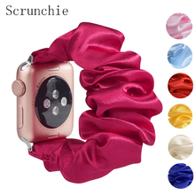 Scrunchie Elastic Strap for apple watch 6 5 band 44mm 40mm women watchband bracelet for iwatch series 6 5 4 3 band 38mm 42mm 38