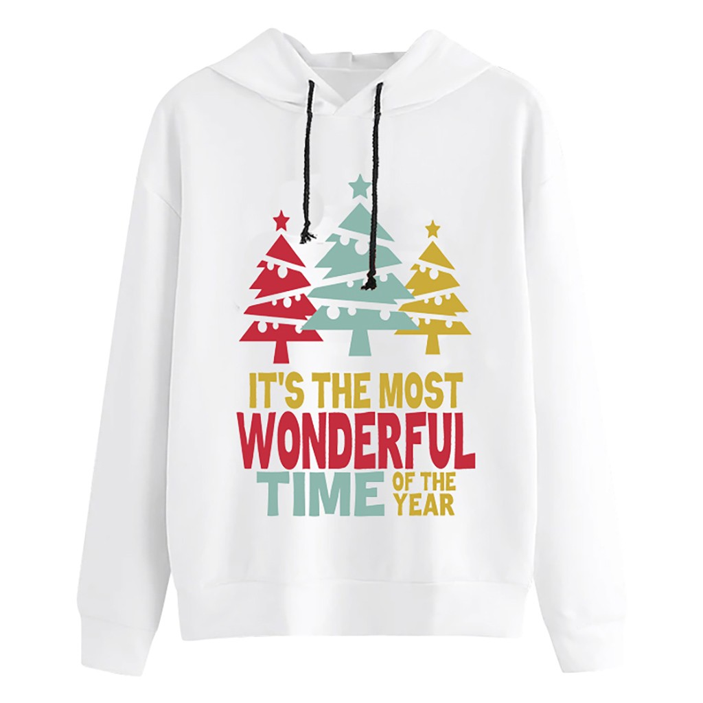Jaycosin 2020 Fashion Women's Colourful Christmas Letter Print Hoodie Sweatshirt Long Sleeve Casual Comfortable Blouse Top 11#10