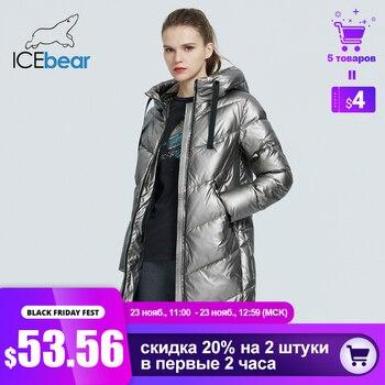 ICEbear 2020 nouveau à capuche hiver veste femme mode décontracté mince long chaud coton manteau marque dames parkas GWD20302D 1