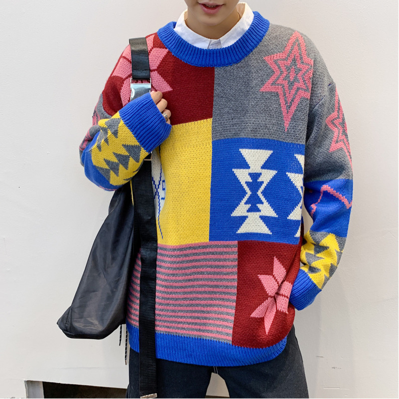 Winter Sweater Men Warm Fashion Contrast Color Casual Knit Pullover Men Sweter Clothes Streetwear Long-sleeved Sweaters Male