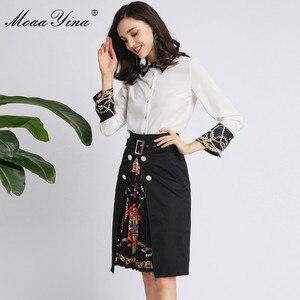 Image 2 - MoaaYina moda tasarımcısı seti bahar sonbahar kadınlar uzun kollu boncuk inci gömlek Tops + dantelli etek zarif iki parçalı seti