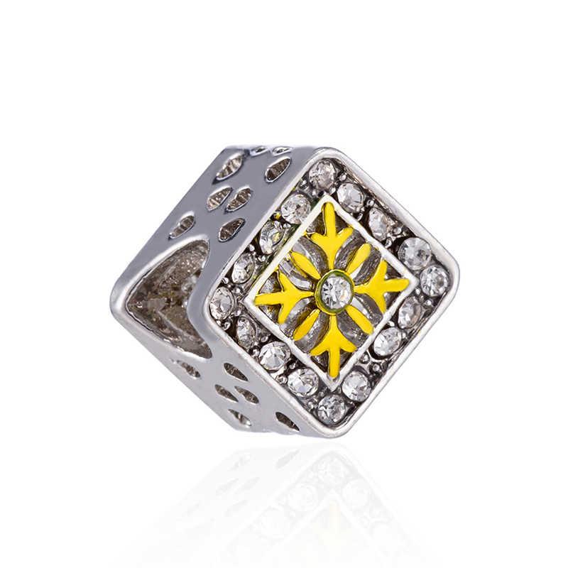 Prosty styl kryształ kwiat gwiazda Snowflake łuk wiatrak serce Mickey koraliki Fit Pandora Charms bransoletki dla kobiet tworzenia biżuterii