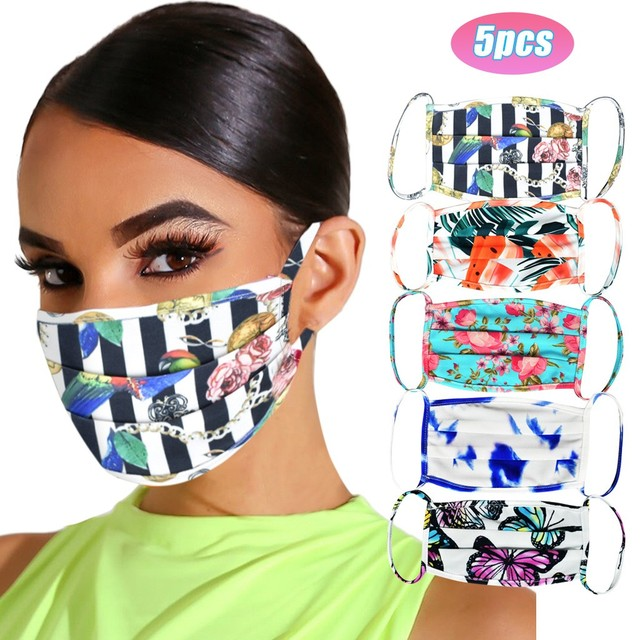 5Pcs/lot Adult Fashion Printing Face Cover Mask Reusable Washable Windproof Mask For Outdoor Sports Essential masque