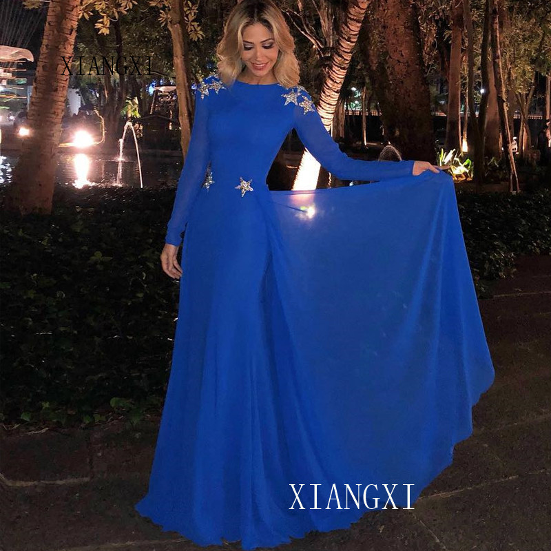 Blue Evening Dresses A-Line Jewel Neck Full Sleeves Lace Appliques Backless Floor Length Formal Party Gowns Long Evening Dress