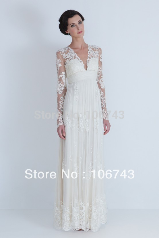 Vestidos De Novia 2018 New Style Sexy Brides Custom Lace V-neck Maxi Long Sleeve Bridal Evening Gown Mother Of The Bride Dresses