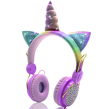 Cute Unicorns Wired kidsHeadphone Music Stereo Earphone for Computer Mobile Phone Gaming Headset Kid Girls Daughters Gift