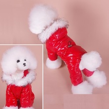 Jumpsuit Waist-Overalls Dog-Parkas Dogs Winter for Faux-Fur Hoodie Teddy Eleastic Warm