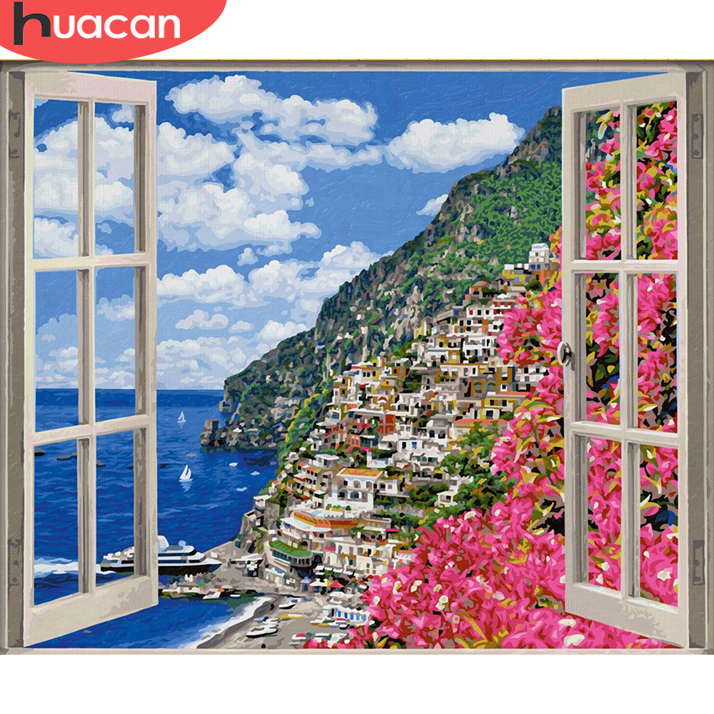 Картина HUACAN по номерам, наборы для рисования, ручная работа, парусина, Масляные картины, морской городок, домашний декор, подарок|Картина по номерам|   | АлиЭкспресс